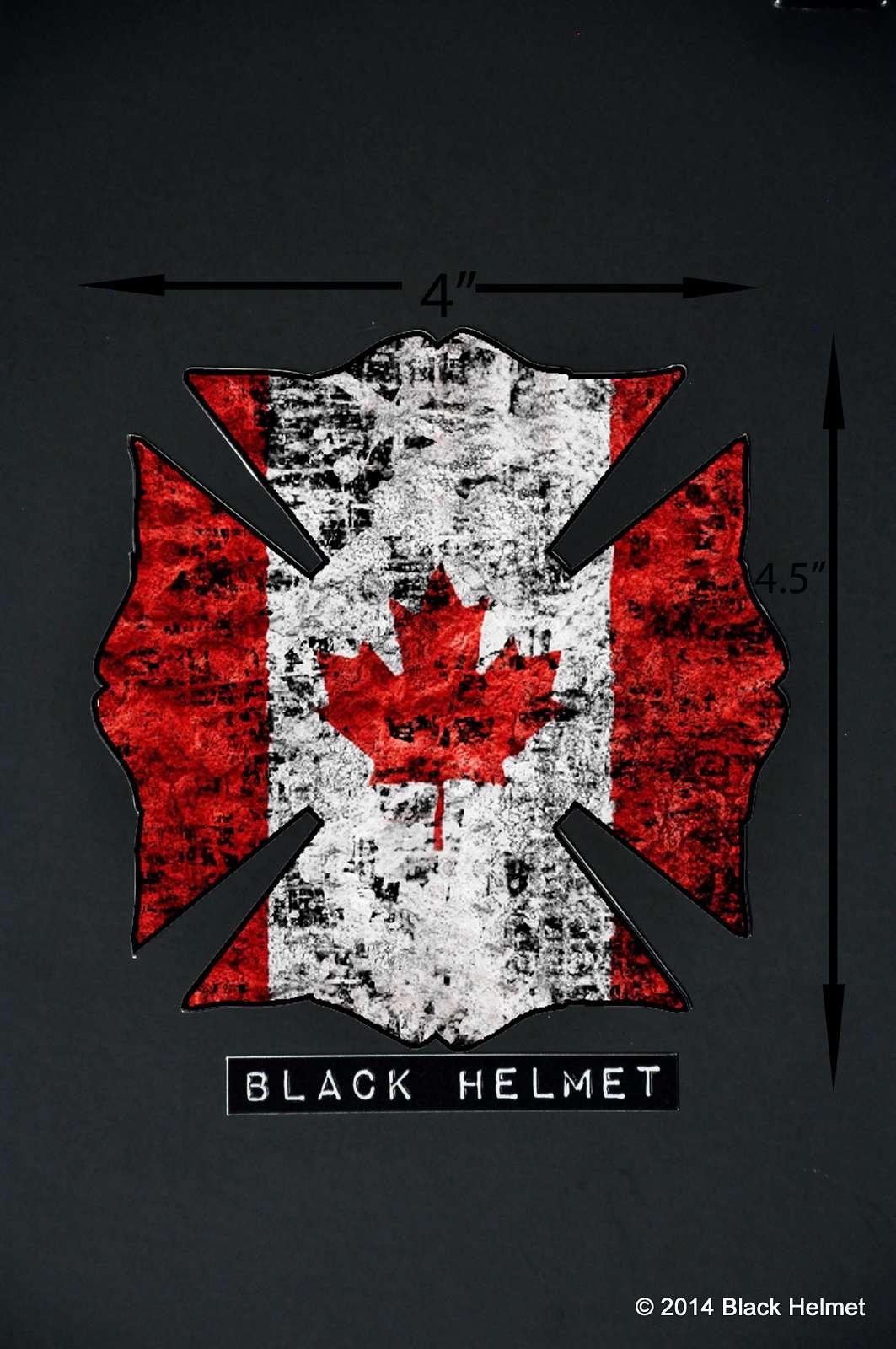 flag of canada maltese vehicle decal black helmet firefighter