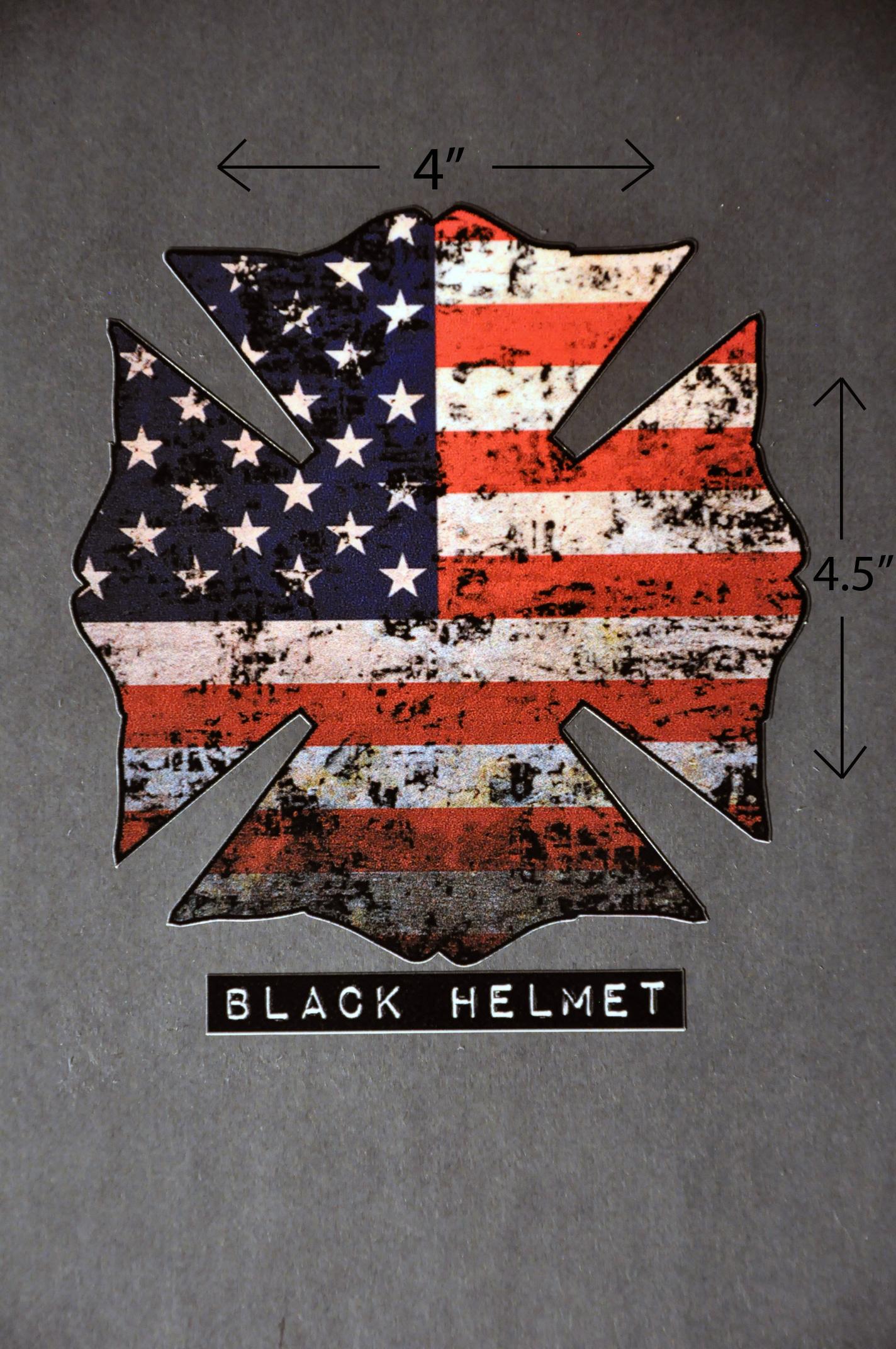 American Flag Old Glory Maltese Cross Vehicle Decal Black - Fire helmet decals