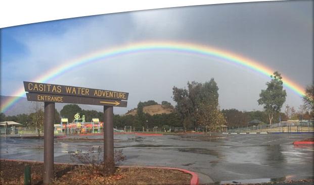 <p>Rainbow over the Casitas Water Adventure.&nbsp;</p>