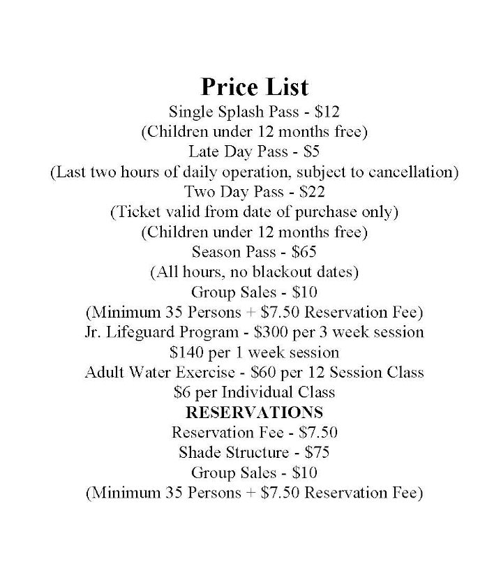 Waterpark Price List 2013
