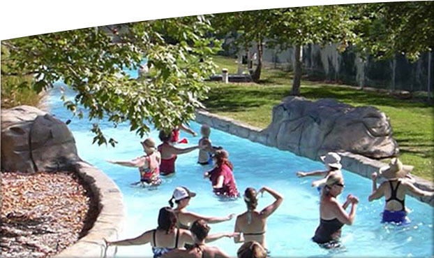 <p>Our unique summer adult water aerobics class held in the Lazy River.</p>