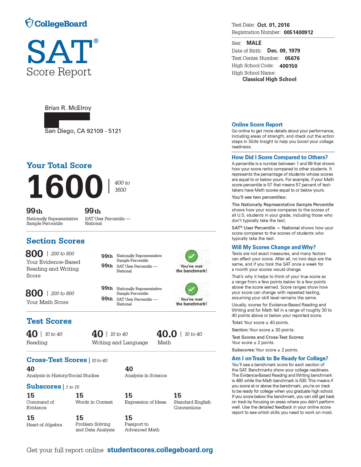 What is a good new sat essay score