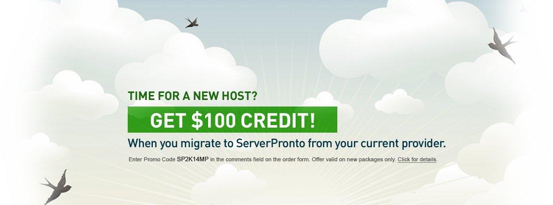 Promo: Migrate from a competing provider and receive one month of free service