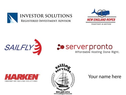 corporate sponsers: investor solutions, new england ropes, sail fly, server pronto, harken, sailing services, your name here!