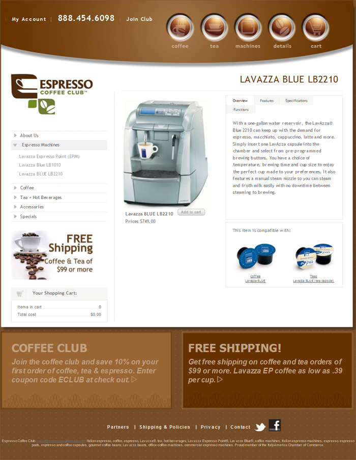 At Espresso Coffee Club, they are more than just coffee. They believe that life is about savoring the moment and living life to the fullest. They have been importing and distributing the finest Italian espresso machines, coffee and tea for over 15 years. They have offices in major cities throughout the U.S. and we distribute to both commercial and retail business. It is their aim to seek out the finest in Italian products and we employ knowledgeable service and support staff to assist you one on one.
