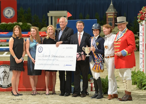 Jessica Springsteen accepting her leading rider awards