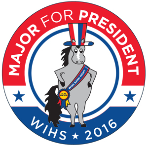 The campaign button for Major, the WIHS mascot