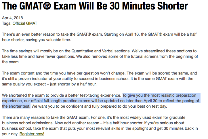 Gmat Is Changing April 16 2018 It Will Be 30 Minutes Shorter